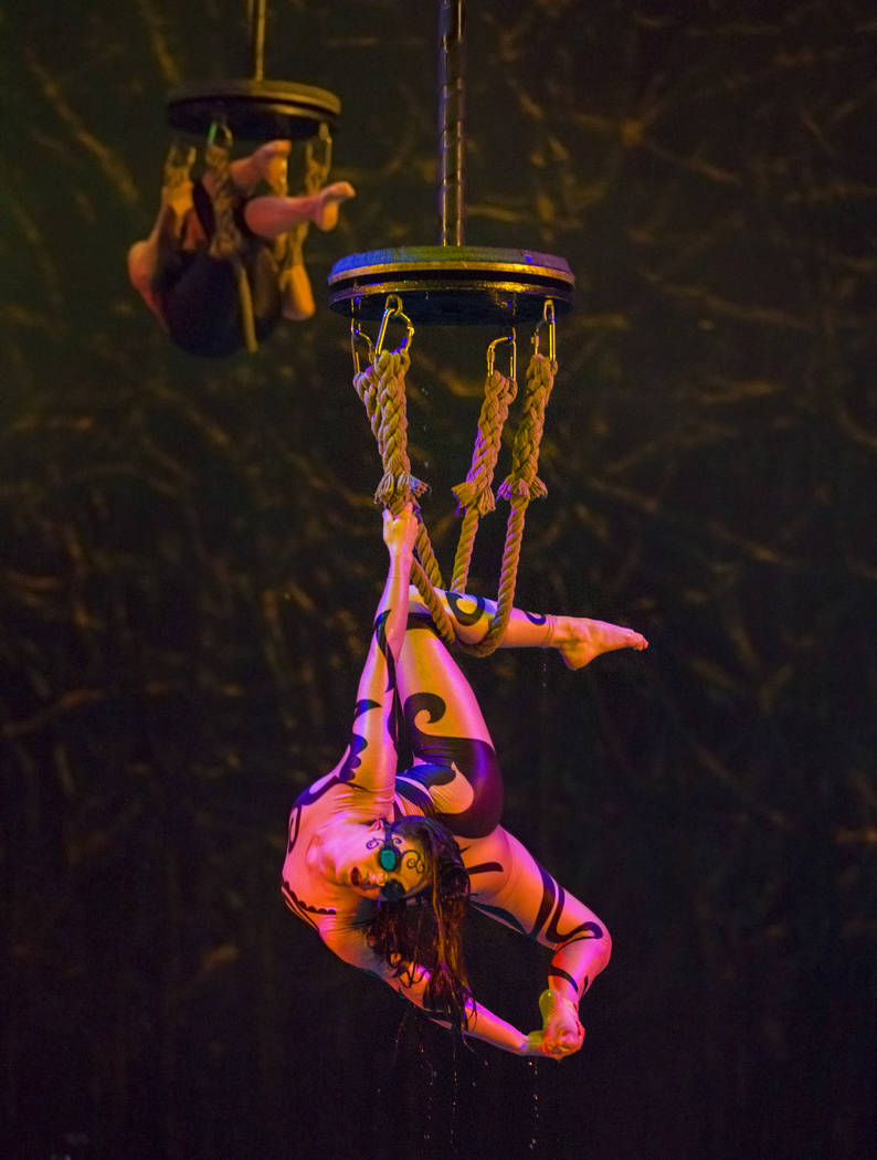 "Performers with Cirque du Soleil rehearse the scene ""Fishermen"" during a sneak preview of the seventh annual philanthropic production ""One Night for One Drop 2019"" at the & ..."