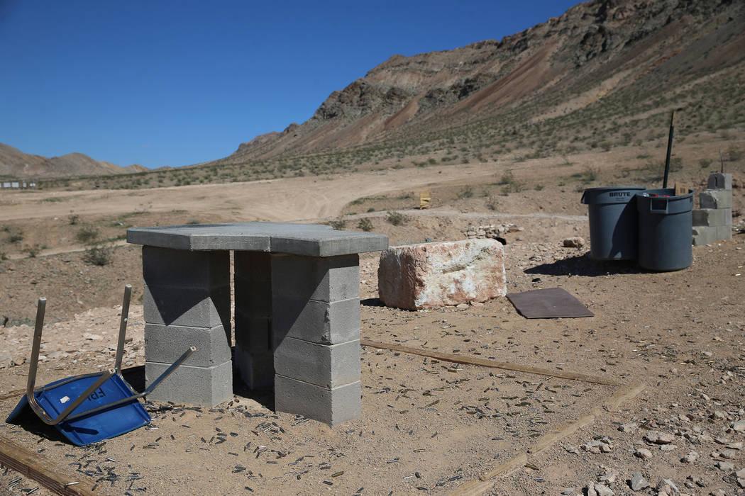 Shooting platforms inside the Metropolitan Police Department firearms range in Las Vegas on Fri ...