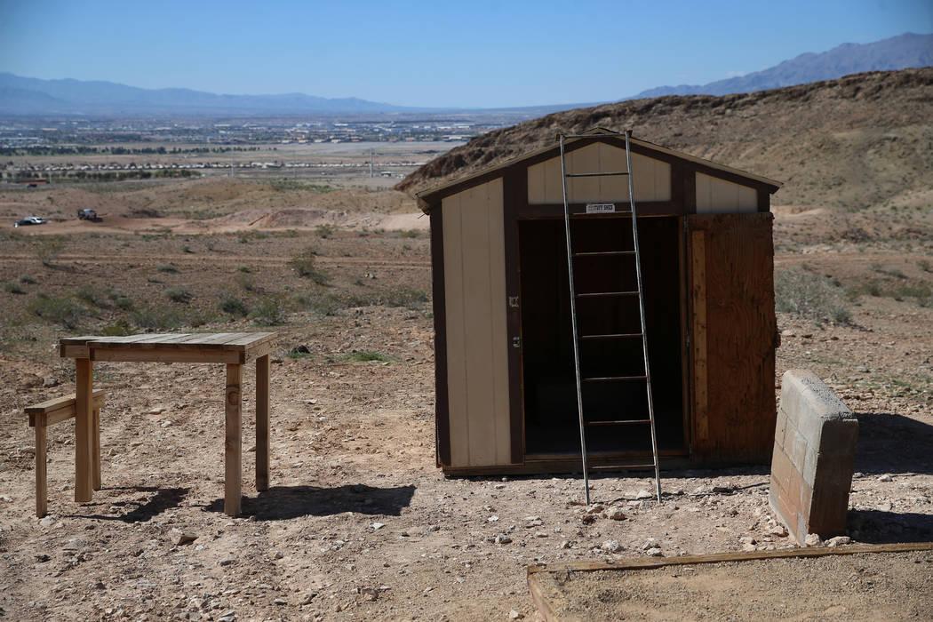 An elevated shooting platform at the Metropolitan Police Department firearms range in Las Vegas ...