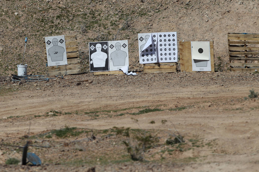 Shooting targets at the Metropolitan Police Department firearms range in Las Vegas on Friday, M ...