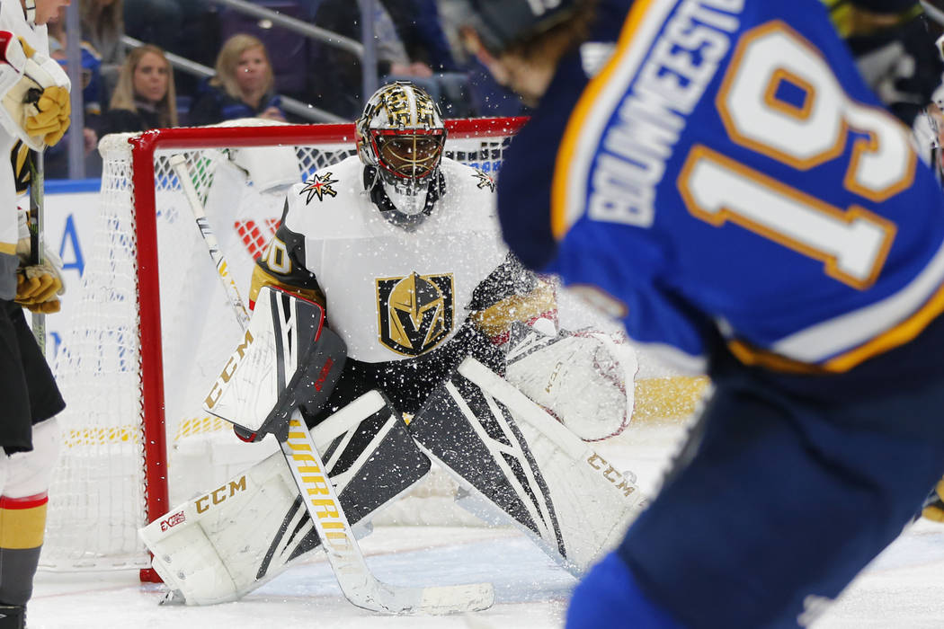 Vegas Golden Knights' goalie Malcolm Subban (30) looks to make a save against the St. Louis Blues during the second period of an NHL hockey game Monday, March 25, 2019, in St. Louis. (AP Photo/Dil ...
