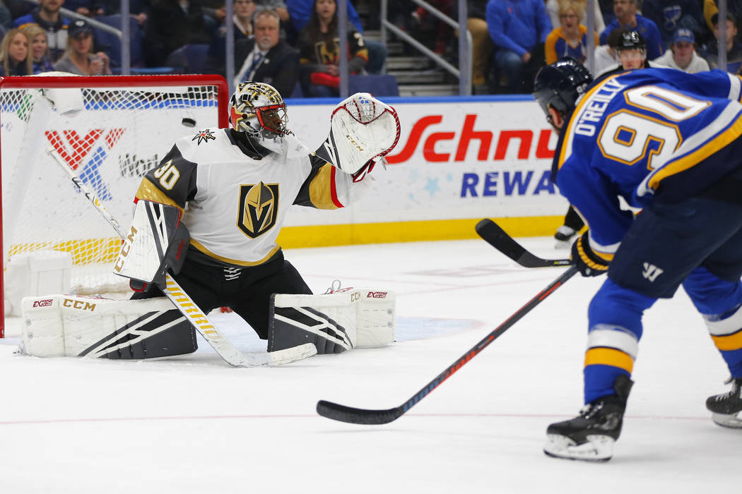 St. Louis Blues' Ryan O'Reilly (90) scores a goal against Vegas Golden Knights' goalie Malcolm Subban (30) during the second period of an NHL hockey game Monday, March 25, 2019, in St. Louis. (AP ...