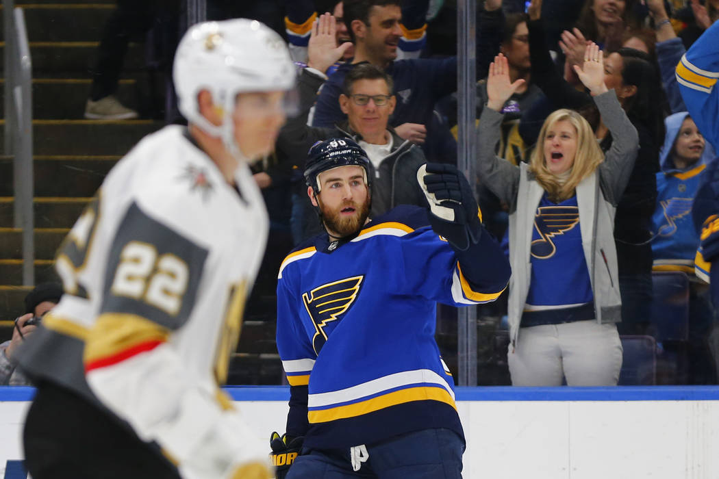 St. Louis Blues' Ryan O'Reilly (90) celebrates after scoring a goal against the Vegas Golden Knights during the second period of an NHL hockey game Monday, March 25, 2019, in St. Louis. (AP Photo/ ...