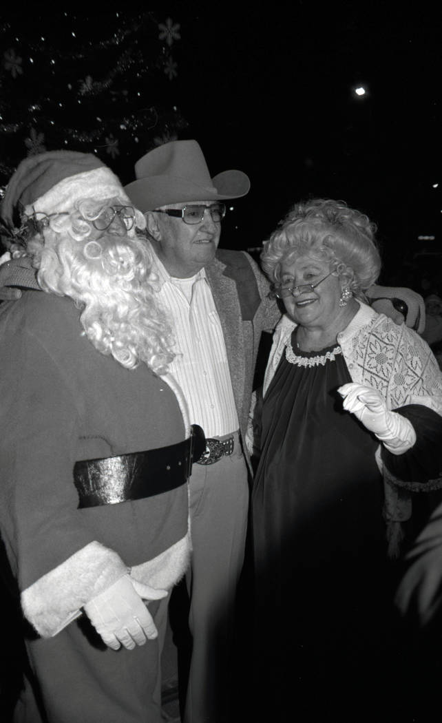 Christmas tree lighting with Sam Boyd and Mr. Newman at Sam's Town on November 24, 1987. Credit ...