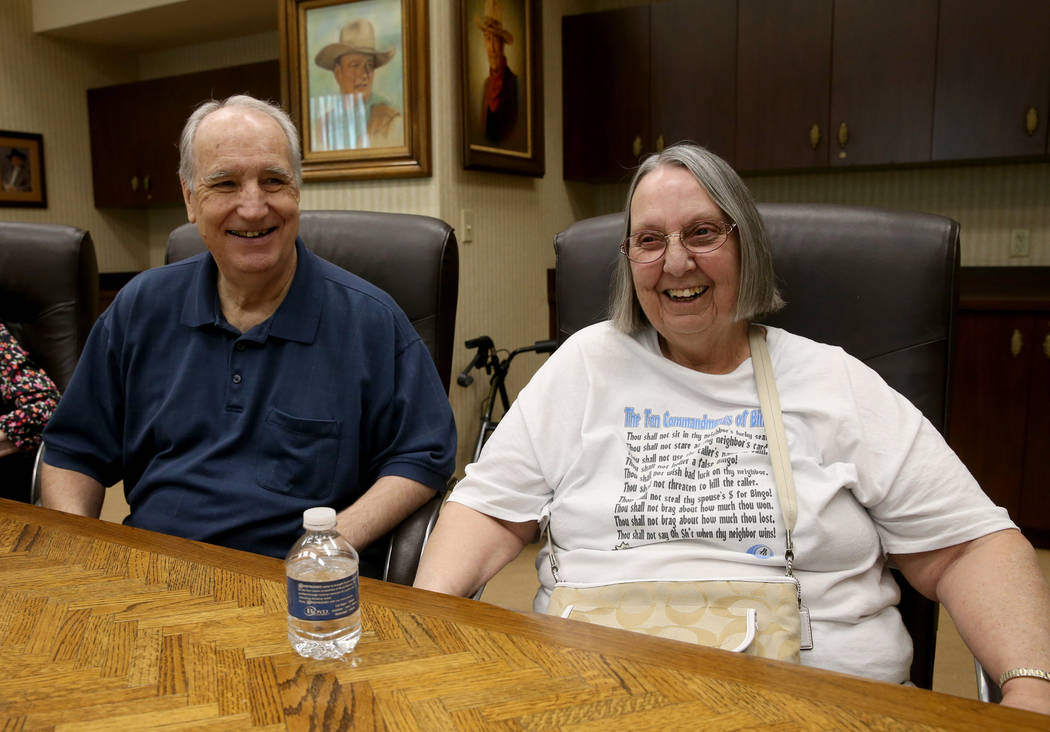 Jon Avery, 72, and his wife Barbara Avery, 70, of Las Vegas, talk to a reporter during an inter ...