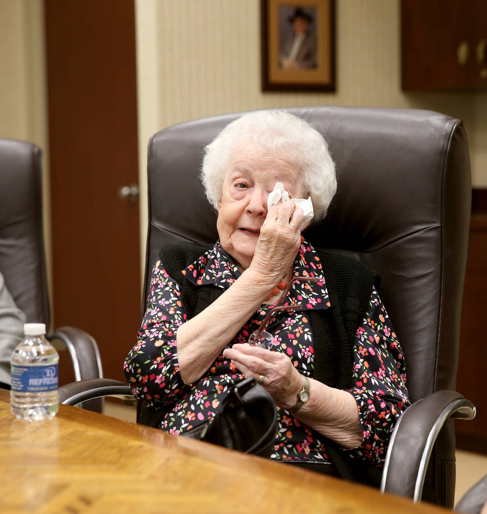 Audry Bucci, 89, of Las Vegas, wipes a tear while talking to a reporter during an interview at ...