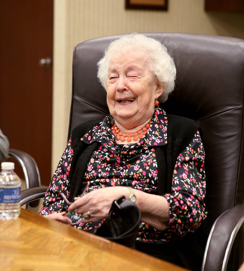Audry Bucci, 89, of Las Vegas, talks to a reporter during an interview at Sam's Town Monday, Ma ...