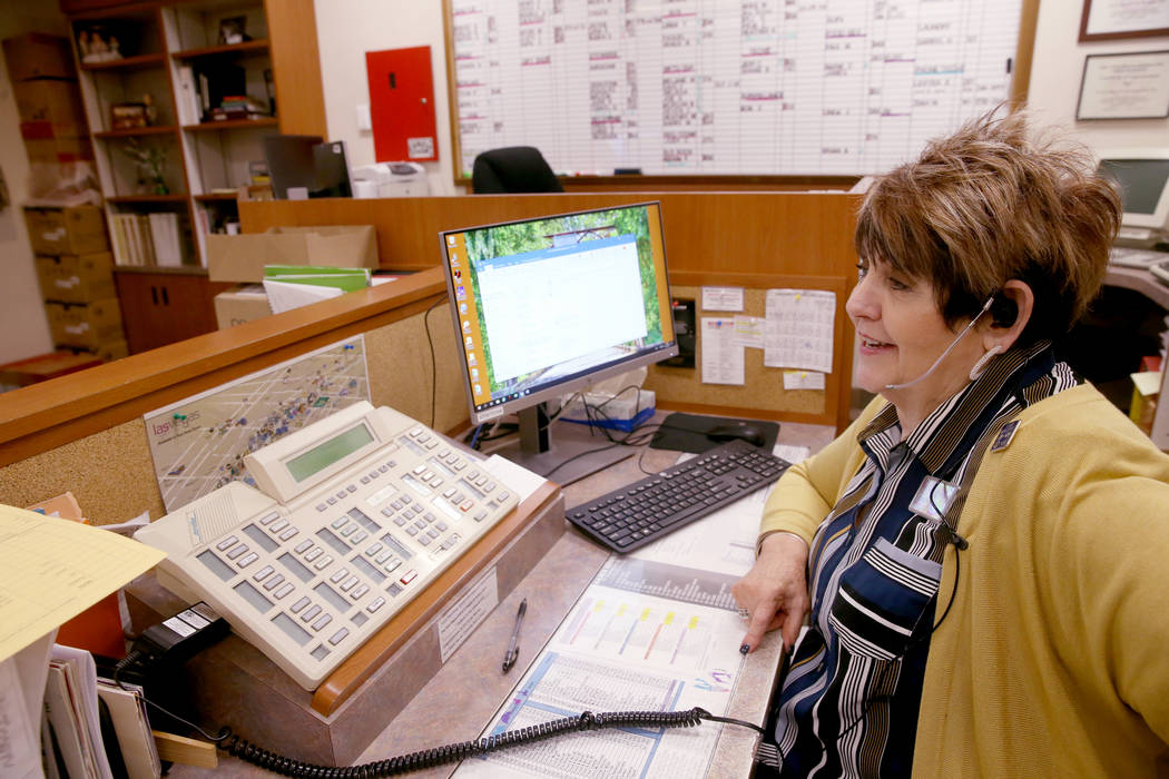 PBX Manager Linda Stone, who has worked at Sam's Town 39 years, at her office Monday, March 25, ...