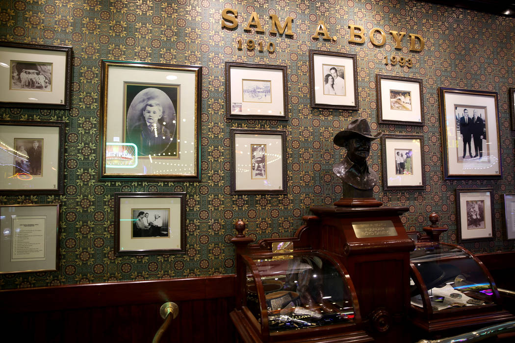 A wall dedicated to Boyd Gaming founder Sam Boyd at Sam's Town Tuesday, March 26, 2019. (K.M. C ...