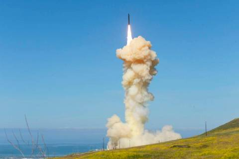 "In this photo provided by the Missile Defense Agency, the lead ground-based Interceptor is launched from Vandenberg Air Force Base, Calif., in a ""salvo"" engagement test of an unarmed mis ..."