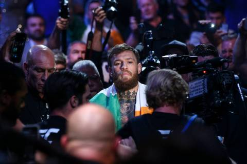 Conor McGregor enters the arena before facing Khabib Nurmagomedov in their lightweight title bout at UFC 229 at T-Mobile Arena in Las Vegas on Saturday, Oct. 6, 2018. Chase Stevens Las Vegas Revie ...