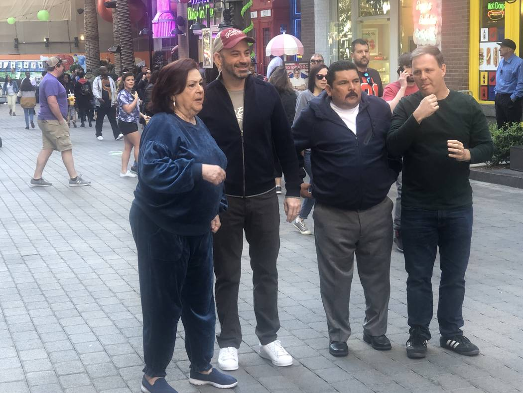 "From left: Aunt Chippy (Concetta Potenza), Jimmy Kimmel, sidekick Guillermo Rodriguez and ""Co ..."