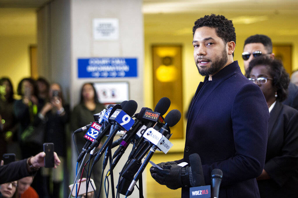 Actor Jussie Smollett speaks at the Leighton Criminal Courthouse in Chicago on Tuesday March 26, 2019, after prosecutors dropped all charges against him. Smollett was indicted on 16 felony counts ...
