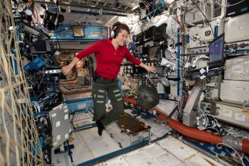 Flight Engineer Anne McClain looks at a laptop computer screen inside the U.S. Destiny laboratory module of the International Space Station on Jan. 18, 2019. McClain was supposed to participate in ...