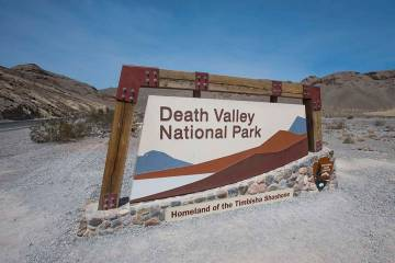 An entrance sign for Death Valley National Park. (Richard Brian/Las Vegas Review-Journal)