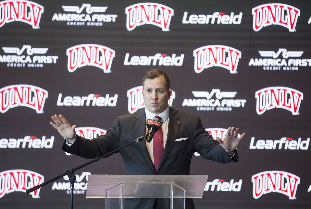 New UNLV men's basketball coach T.J. Otzelberger addresses the crowd at the Strip View Pavilion ...