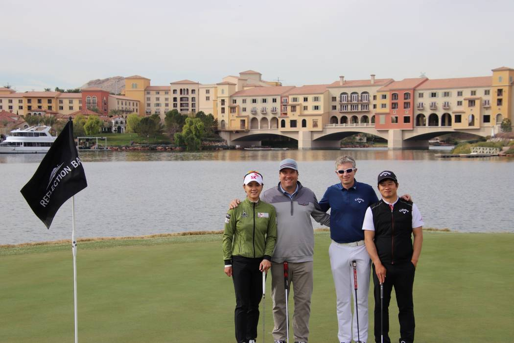 Top South Korean golfers played and practiced for seven weeks at Reflection Bay recently. From left: Na Yeon Choi - LPGA Professional, 2012 U.S. Open Champion; Craig Barlow - Director of Instructi ...