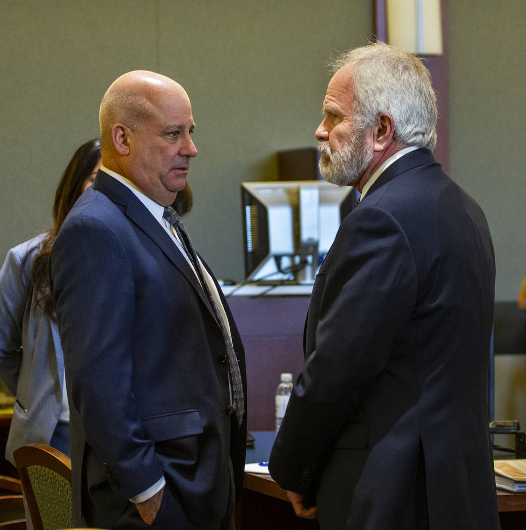 Attorney Laurin Quiat, left, and Jim Wilkes, attorney for former U.S. Sen. Harry Reid, before opening statements in Reid's civil trial at the Regional Justice Center on Tuesday, March 26, 2019, in ...