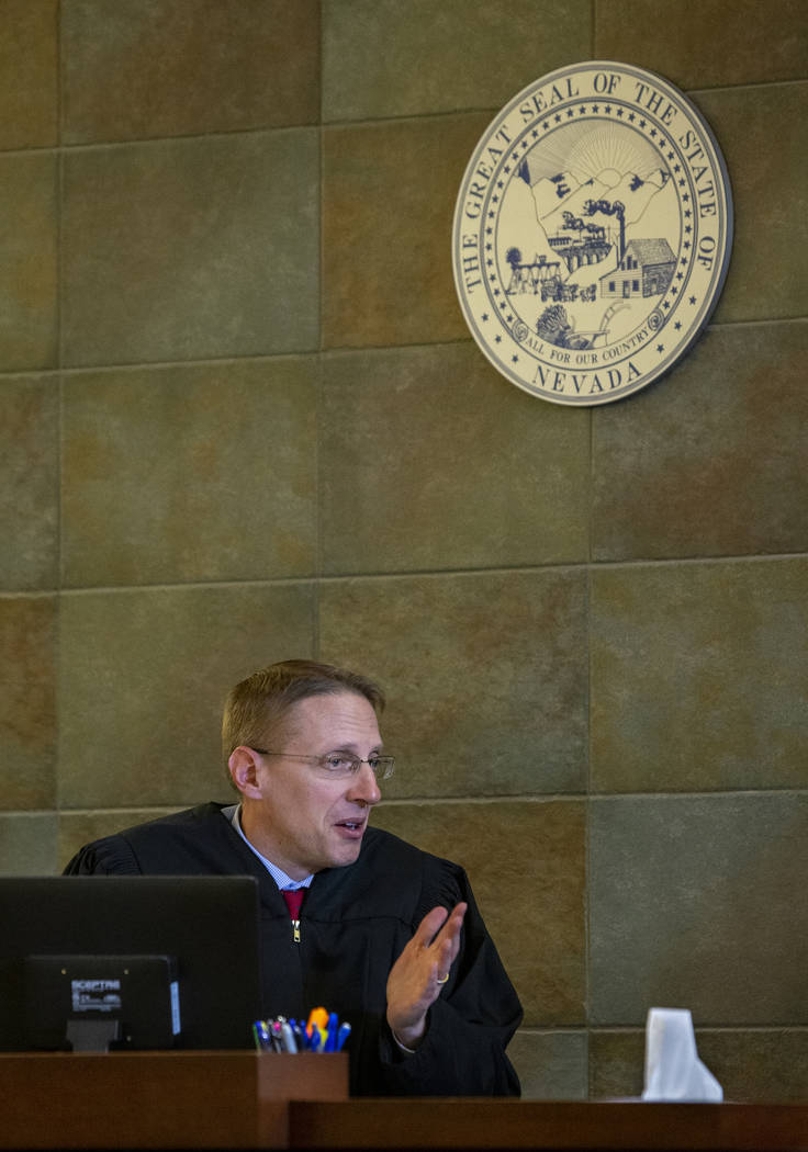 District Judge Joe Hardy Jr. gives jury instructions prior to opening statements in former U.S. Sen. Harry Reid's civil trial at the Regional Justice Center on Tuesday, March 26, 2019, in Las Vega ...