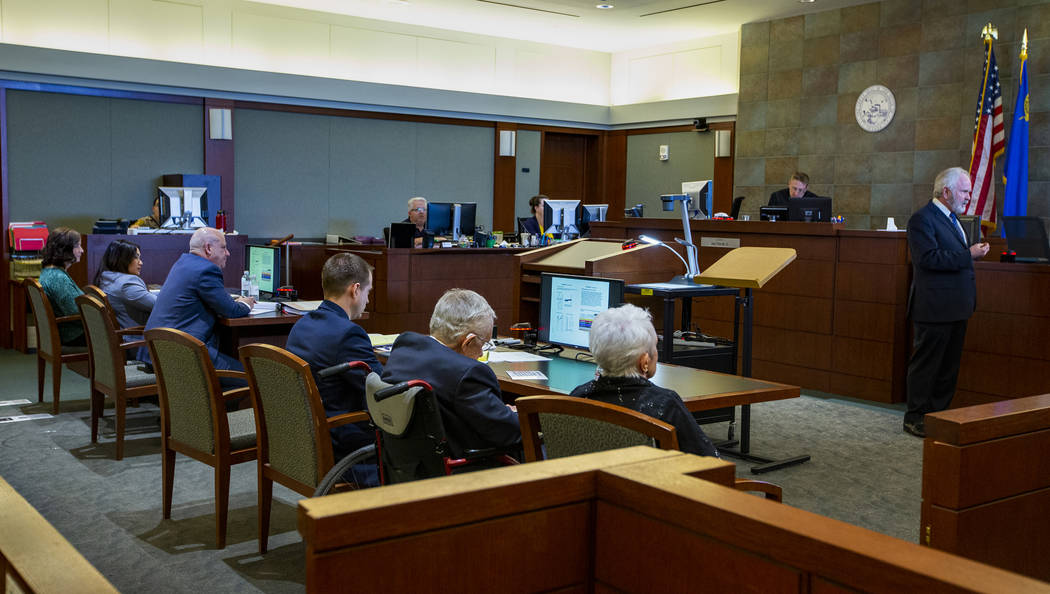 Jim Wilkes, attorney for former U.S. Sen. Harry Reid, gives opening statements to the jury during Reid's civil trial at the Regional Justice Center on Tuesday, March 26, 2019, in Las Vegas. (L.E. ...