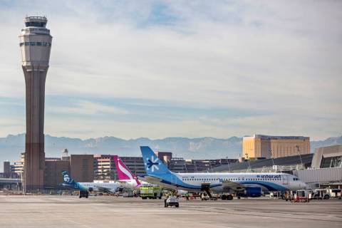 Aircraft are serviced at McCarran International Airport on Tuesday, Dec. 18, 2018, in Las Vegas. Benjamin Hager Las Vegas Review-Journal