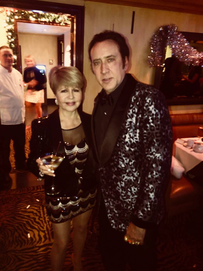 Pia Zadora and Nicolas Cage are shown at Piero's Italian Restaurant on Dec. 31, 2017 (Piero's Italian Restaurant)