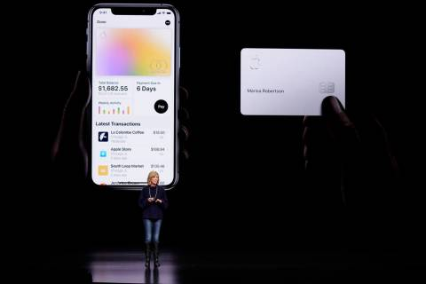 Jennifer Bailey, vice president of Apple Pay, speaks Monday, March 25, 2019, about the Apple Card at the Steve Jobs Theater during an event to announce new products in Cupertino, Calif. Apple is h ...