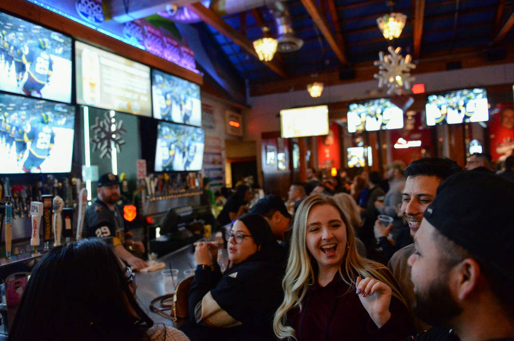 Golden Knights fans cheer at a party for the release of Ryan Reaves' new beer, Training Day, at PKWY Tavern Flamingo in Las Vegas, Thursday, Dec. 27, 2018. Caroline Brehman/Las Vegas Review-Journal