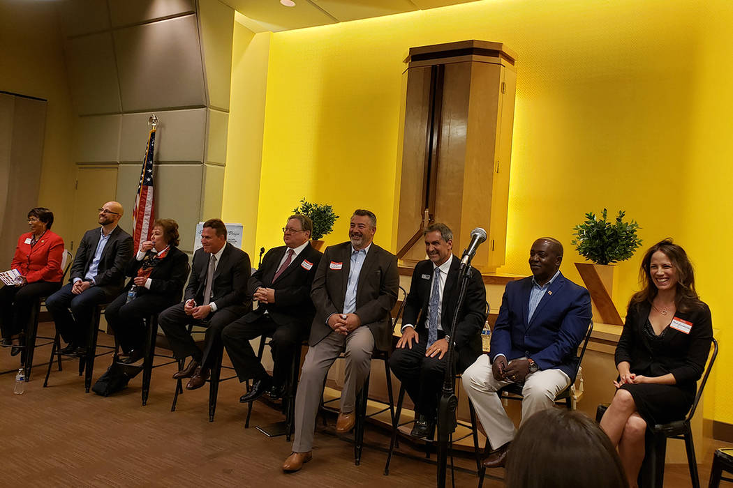 Candidates seeking to represent Ward 1 on the Las Vegas City Council meet for a forum Monday, March 25, 2019, at the SGI-USA Buddhist Center in Las Vegas. (Shea Johnson/Las Vegas Review-Journal)