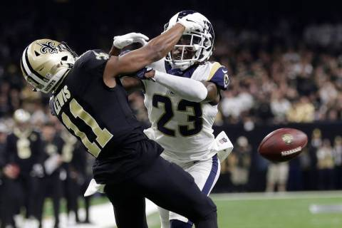 In this Jan. 20, 2019, file photo, Los Angeles Rams' Nickell Robey-Coleman breaks up a pass intended for New Orleans Saints' Tommylee Lewis during the second half of the NFL football NFC champions ...
