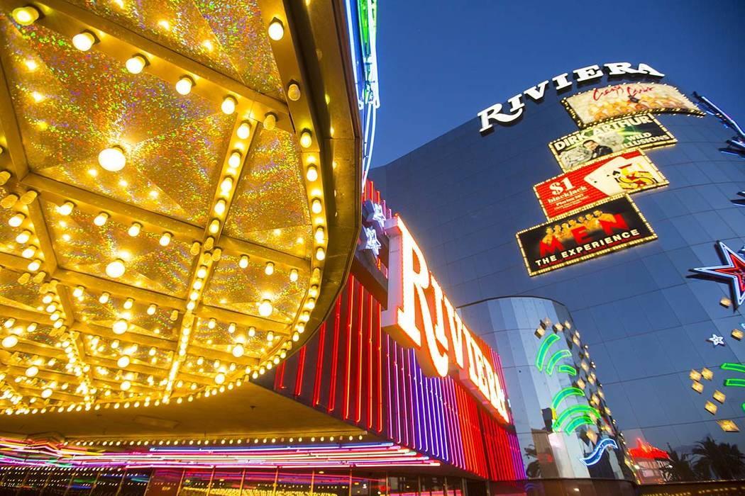 Exterior lights as seen Monday, April 20, 2015 at the Riviera hotel-casino, 2901 South Las Vegas Boulevard. The resort will close next Tuesday to make room for Las Vegas Convention Center expansi ...