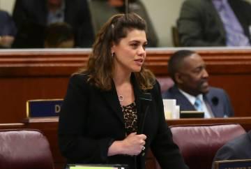 Assembly Majority Leader Teresa Benitez-Thompson, D-Reno, seen at the Legislative Building in C ...