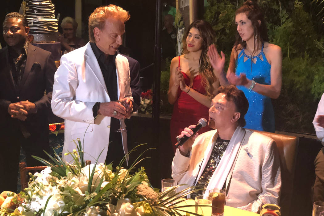 Siegfried & Roy are shown at Roy's birthday party at Siegfried & Roy's Secret Garden, Oct. 4 20 ...