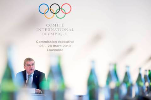 International Olympic Committee (IOC) president Thomas Bach from Germany speaks at the opening of the first day of the executive board meeting of the International Olympic Committee (IOC), in Laus ...