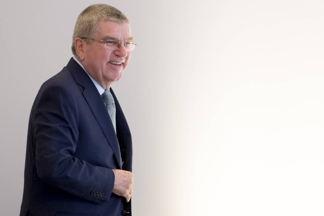 International Olympic Committee (IOC) president Thomas Bach from Germany arrives at the opening of the first day of the executive board meeting of the International Olympic Committee (IOC), in Lau ...