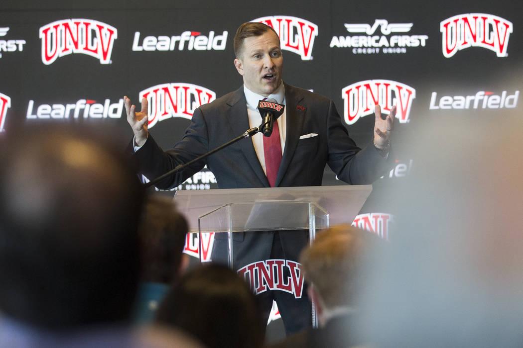 New UNLV men's basketball coach T.J. Otzelberger addresses the crowd at the Strip View Pavilion ...