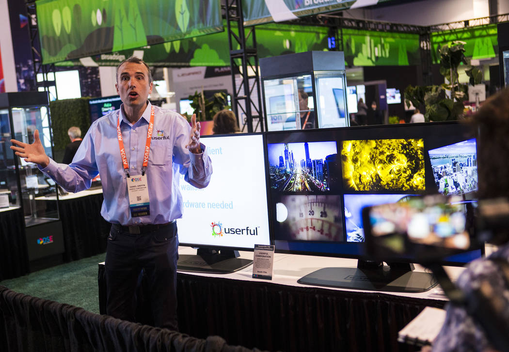 Daniel Griffin, vice president of marketing at Userful, talks about video displays during a med ...