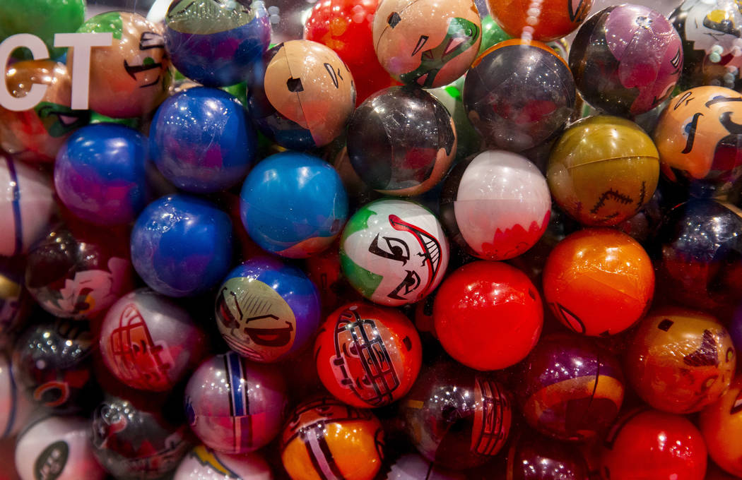 Some of the many gumball designs on display to be purchased during the the Amusement Expo at th ...