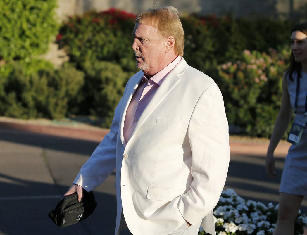 Oakland Raiders football team owner Mark Davis arrives for the annual NFL owners meetings, Sund ...