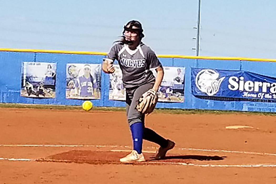 Basic's Shelby Basso delivers a pitch against Sierra Vista on Friday, March 29, 2019. Basso thr ...