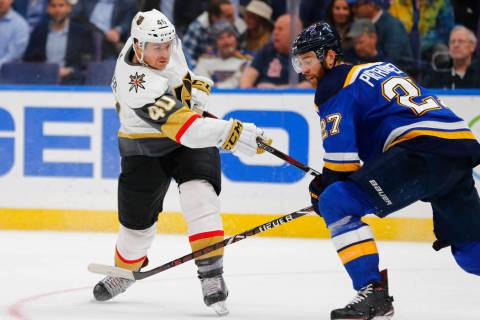 Vegas Golden Knights' Ryan Carpenter (40) shoots the puck against the St. Louis Blues during th ...