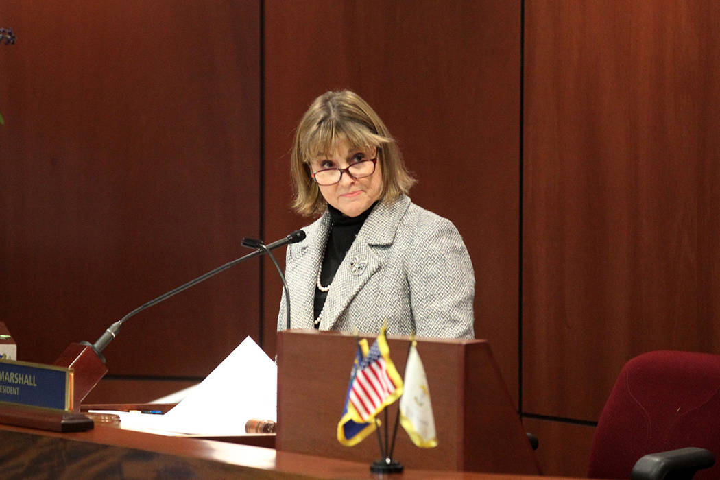 Lt. Gov. Kate Marshall presides over the Senate the Legislative Building in Carson City on the ...