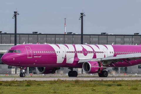 A Sept. 12, 2017 photo of an Icelandic WOW jet that is parked at the airport in Schoenfeld, Ger ...
