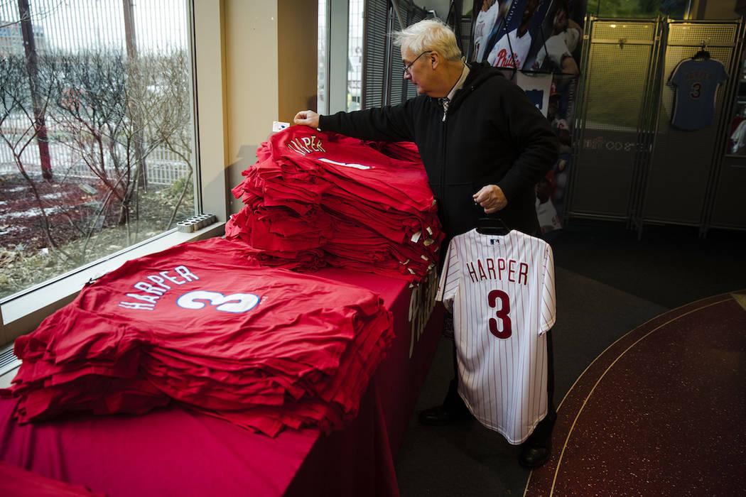Mike Dorsch shops for Philadelphia Phillies' Bryce Harper baseball apparel at Citizens Bank Par ...
