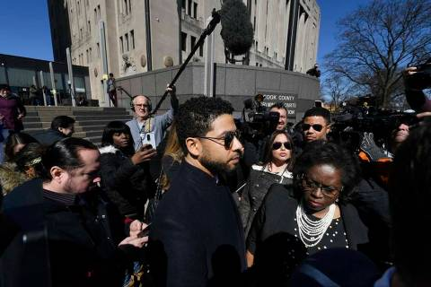 Actor Jussie Smollett leaves Cook County Court after his charges were dropped Tuesday, March 26 ...