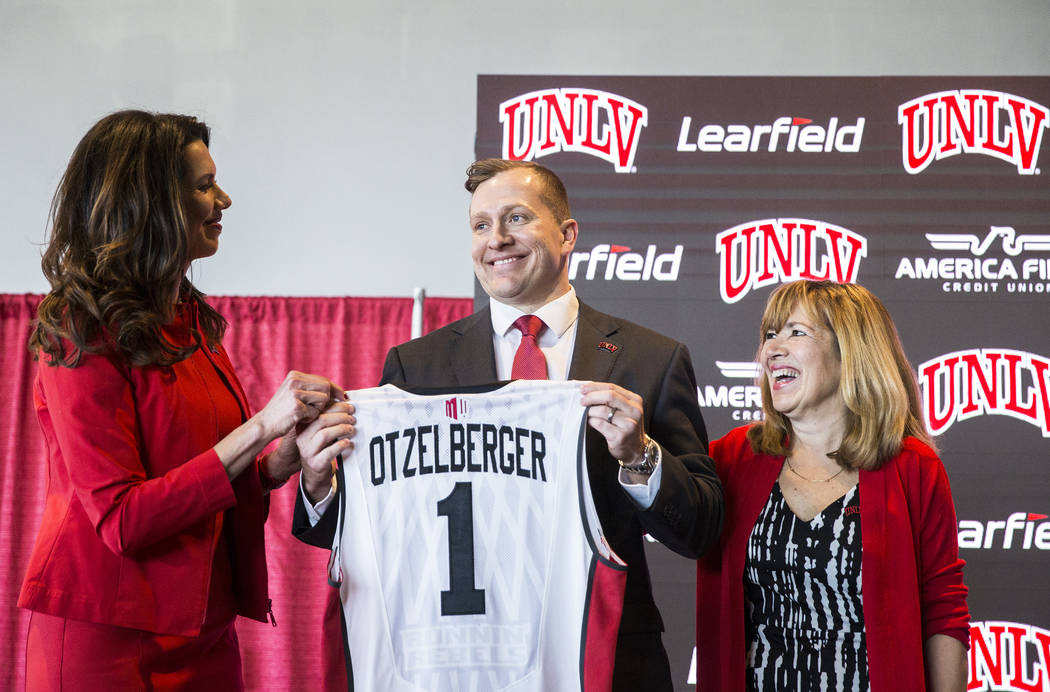 UNLV athletic director Desiree Reed-Francois, left, and UNLV acting president Marta Meana, righ ...