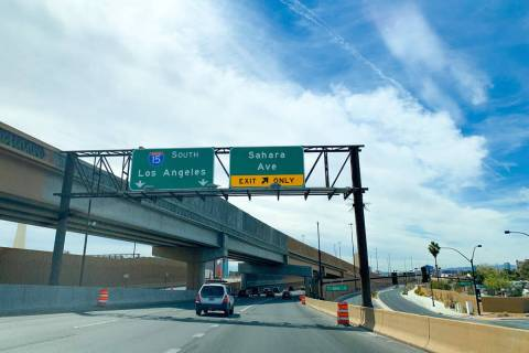 The Sahara Avenue exit from the U.S. Highway 95 southbound to Interstate 15 southbound ramp wil ...
