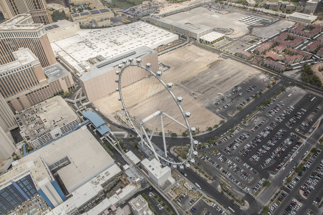 Aerial photos of construction of the future Caesars convention center space east of the High Ro ...