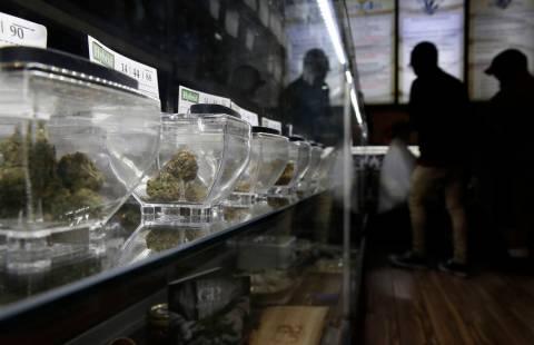 In this Aug. 1, 2018, photo, marijuana is on display at 420 Sahara Wellness in Las Vegas. Nevad ...