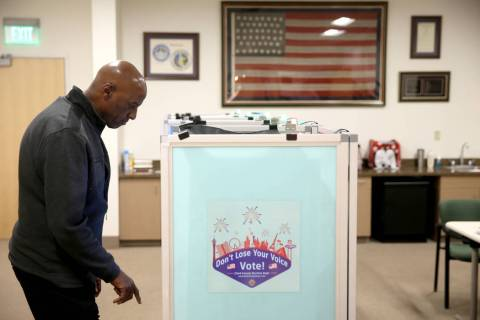 Rafiq Ali, of Las Vegas, votes at City Hall in downtown Las Vegas, Thursday, March 28, 2019. Fr ...